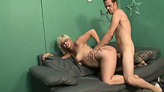 Blonde milf with curvy ass and cute natural tits has desires that require attention