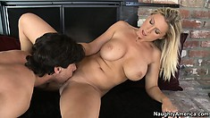 Busty blonde milf with a hot ass Devon Lee can't resist a young guy with a big cock