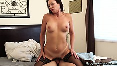 Vanessa Videl rides his big cock and treats him like the stud he is