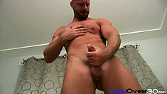 Horny boy Mitch, likes playing with his tight ass and pierced cock and balls