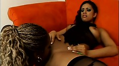 Marvelous ebony lesbians Ice La Fox and Tierra Quinn fuck on cam