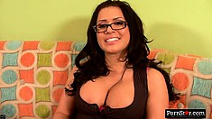 Seductive brunette with a pretty smile Eva Angelina is on the prowl for wild action
