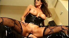 Lesbian mistress takes her pet for a ride on her huge strapon