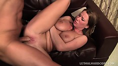 Alluring blonde with a perfect ass and big boobs gets fucked hard by a huge dick