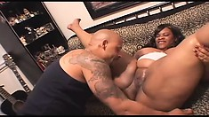 Chubby ebony lady with a huge booty can't get enough of that black rod deep in her cunt
