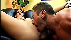 Eve Lawrence gets licked so he can slide in his pecker into her hot box