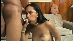 Ebony by the pool gets a dick to eat, gets pounded and a facial