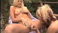 Stunning blonde lesbians take each other's peaches to climax outside
