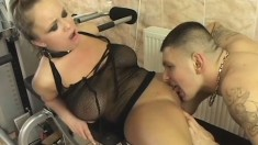 Stacked blonde on a leash has a horny stud deeply pounding her holes