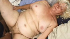 Fat blonde granny Vicky Salas getting nailed hard by a young stallion