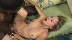 Blonde milf with a sexy slim body finds it hard to resist a black cock