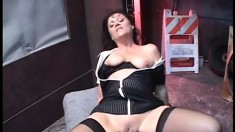 Naughty old maid Lya Pink pleases two well hung dudes in hot threesome